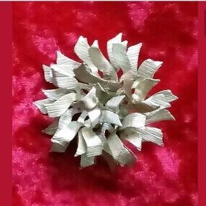 Signed Coro Vtg. Crinkle Bow Ruffle Flower Brooch